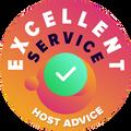 """我們花時間親自和匿名地檢查每一家公司的客戶服務。 """"卓越徽章""""被授予遵守HostAdvice高標準客戶服務的託管公司,這意味著服務被證明是快速、高效、有見地的和(最重要的是)有幫助的。"""